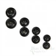 Genuine Horn Brownish Black Suit Buttons in Four Sizes, Made in Germany