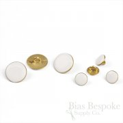 Small Matte Gold & Off-White Enamel Shank Buttons, Made in Italy
