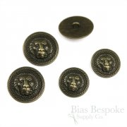 Lion Face Antique Brass Coat Buttons, Made in Italy
