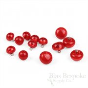 POLARIS Luminous Red Bubble Buttons in Two Sizes, Made in Italy