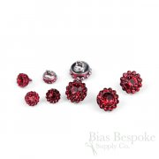 EDITH Tiny Red Rhinestone Flower Buttons in Two Sizes