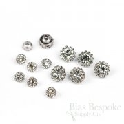 EDITH Tiny Clear Rhinestone Flower Buttons in Two Sizes