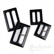 FINESTRA Rectangular Polished Black Buckles, Made in Italy