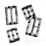 FINESTRA Rectangular Silvery & Black Buckles, Made in Italy