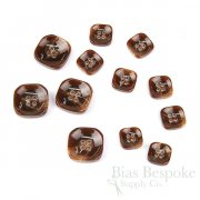 SALGAN Red Brown Rounded Square Buttons, Made in Italy