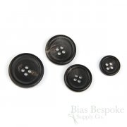 FIRPO Faded Matte Black Real Buffalo Horn Buttons, Made in Italy