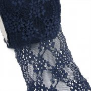 "FIONA 7"" Wide Navy Blue Stretch Lace Trim, Sold by the Yard"