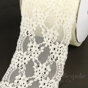 "FIONA 7"" Wide Cream Stretch Lace Trim, Sold by the Yard"