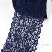 "NIVALE 6 1/2"" Wide Navy Blue Stretch Lace Trim, Made in Italy"