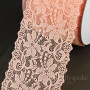 "NIVALE 6 3/4"" Wide Stretch Lace Trim, Ballet Slipper Peach, Made in Italy"