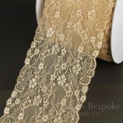 "MELOSA 6 1/4"" Wide Stretch Lace Trim, Biscuit Tan, Made in Italy"