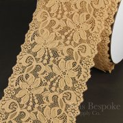"NIVALE 6"" Wide Stretch Lace Trim, Biscuit Tan, Made in Italy"