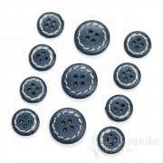 Aegean Blue Leather 4-Hole Buttons in Two Sizes, Made in Italy
