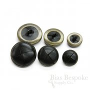 Black Woven Leather & Antique Brass Buttons in Three Sizes, Made in Italy