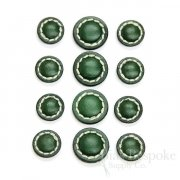 Dark Green Leather Shank Buttons, Made in Italy