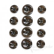 HALENA Luminous Chocolate Brown Galalite Buttons, Made in Italy