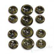 HALENA Luminous Olive Green Galalite Buttons, Made in Italy