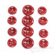 HALENA Luminous Bright Red Galalite Buttons, Made in Italy