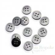 Thick Pale Gray Shirt Buttons with Dark Sides, Made in Italy