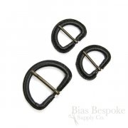 Black Leather D-Ring Buckles with Antique Brass Pins, Made in Italy