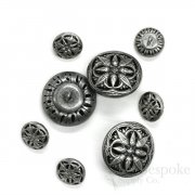 Stunning Antique Silver Filigree Buttons in Two Sizes, Made in France