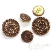 Antique Copper Traditional Folk Star Buttons in Two Sizes, Made in France