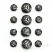 Antique Silver Sailing Ship Buttons, Made in France