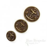 Handsome Antique Brass Anchor Buttons in Three Sizes, Made in France