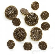 Detailed Antique Brass Coat of Arms Buttons, Made in France