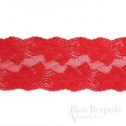 "4 3/4"" Wide Tropical Floral Red Stretch Lace Trim"