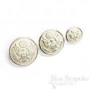 US Army Pale Silver Uniform Buttons in Three Sizes, Made in France