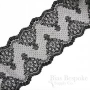 "7 1/2"" Wide Black Fan Stretch Leavers Lace, Made in France"