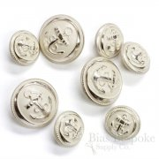 Hand-Polished Silver Anchor Buttons in Two Sizes, Made in France