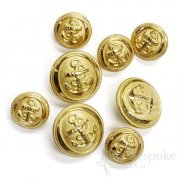 Hand-Polished Gold Anchor Buttons in Two Sizes, Made in France