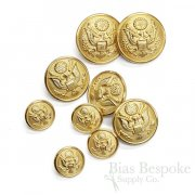 US Military Gold Uniform Buttons in Three Sizes, Made in France