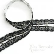 Lace-Covered Riveted Hook & Eye Tape, Made in Italy