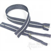 Silver Lurex Coil Zippers, 5 Lengths Available