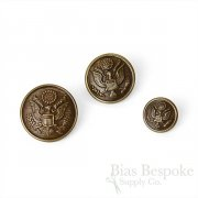 US Army Antique Brass Uniform Buttons in Three Sizes, Made in France