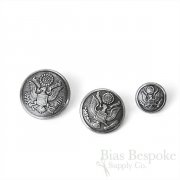 US Army Antique Silver Uniform Buttons in Three Sizes, Made in France