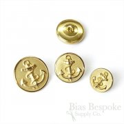 Handsome Gold Anchor Buttons in Three Sizes, Made in France