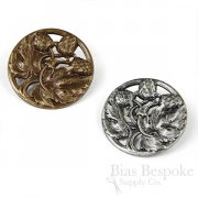 Exquisite Large Metal Botanical Buttons in Two Colors, Made in Paris