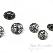 Mother and Daughter Openwork Silver Metal Buttons, Made in France