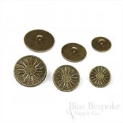 Antique Gold Sun Compass Buttons in Three Sizes, Made in France