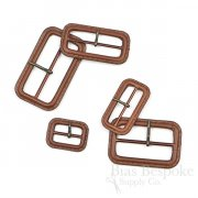 Hickory Brown Leather Buckles with Antique Brass Pins, Made in Italy