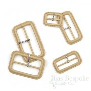 Buff Tan Leather Buckles with Silver Pins, Made in Italy