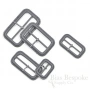 Stone Gray Leather Buckles with Silver Pins, Made in Italy