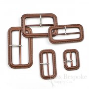 Hickory Brown Leather Buckles with Silver Pins, Made in Italy