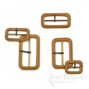 Caramel-Colored Leather Buckles with Antique Brass Pins, Made in Italy