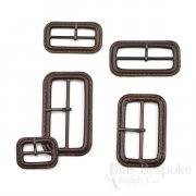Dark Brown Leather Buckles with Antique Brass Pins, Made in Italy