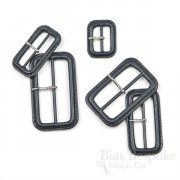 Charcoal Gray Leather Buckles with Silver Pins, Made in Italy